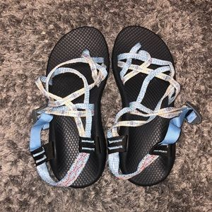 size 10 light blue chacos!! worn once!